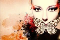 Bella donna, materiale illustrativo con inchiostro nello stile di lerciume Fotografia Stock