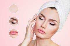Bella donna naturale della ragazza dopo le procedure cosmetiche cosmetology Immagine Stock