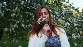 Bella donna naturale in un meleto di fioritura, odorante il fiore archivi video