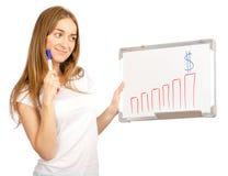 Bella donna nell'affare del grafico dei dollari dei soldi di crescita di tiraggio di lavagna delle mani fotografie stock libere da diritti
