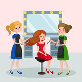 Bella donna nell'illustrazione di vettore del salone di bellezza Immagine Stock Libera da Diritti