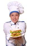 Bella donna nell'immagine del cuoco unico fotografie stock libere da diritti