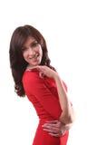 Bella donna nella condizione rossa del vestito isolata su bianco, francese Immagine Stock Libera da Diritti