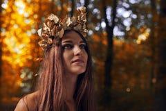 Bella donna nella foresta di autunno immagine stock