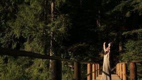 Bella donna scalza in vestito tradizionale lungamente ricamato che cammina sul ponte di legno in Carpathians e nel prendere il so archivi video