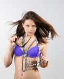 Bella donna sexy in bikini blu Fotografia Stock Libera da Diritti