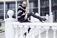 Bella donna con capelli diritti lunghi che portano pelliccia lussuosa Fotografie Stock Libere da Diritti
