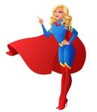 Bella donna sexy del supereroe con il dito che indica su Illustrazione di vettore illustrazione vettoriale