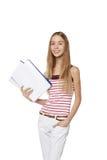 Bella donna sorridente di affari, con i documenti, isolati sulla a Immagine Stock Libera da Diritti