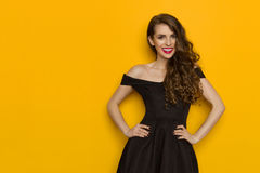 Bella donna sorridente in vestito da cocktail nero elegante fotografia stock libera da diritti