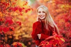 Bella donna sorridente vicino alle foglie rosse all'aperto fotografia stock