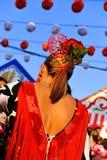 Bella donna spagnola nella fiera, Siviglia, Andalusia, Spagna fotografia stock