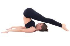 Bella donna sportiva che fa allungando esercizio isolato sul whi Fotografia Stock Libera da Diritti