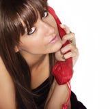Bella donna sul telefono Immagine Stock