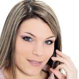 Bella donna sul telefono immagini stock