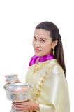 Bella donna tailandese in vestito tradizionale Fotografia Stock