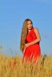 Bella donna in un giacimento di grano Fotografie Stock Libere da Diritti