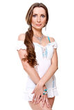 Bella donna in un vestito bianco Fotografia Stock Libera da Diritti