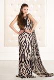 Bella donna in un vestito lungo dalla stampa animale Fotografia Stock Libera da Diritti