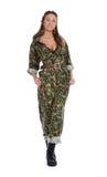 Bella donna in uniforme militare Fotografie Stock