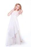 Bella donna in vestito bianco Fotografia Stock Libera da Diritti