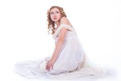 Bella donna in vestito bianco Fotografie Stock Libere da Diritti