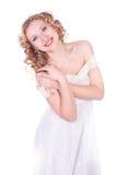 Bella donna in vestito bianco Fotografie Stock