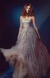 Bella donna in vestito da sera lungo Fotografie Stock