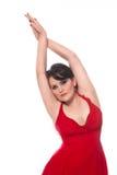 Bella donna in vestito rosso immagini stock libere da diritti