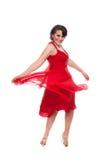Bella donna in vestito rosso fotografia stock