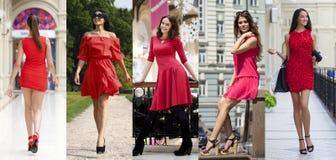 Bella donna in vestito rosso Fotografia Stock Libera da Diritti