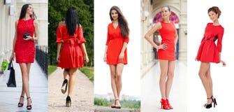 Bella donna in vestito rosso Immagine Stock