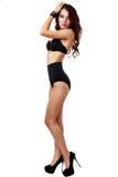 Bella e donna sexy che porta biancheria nera Immagini Stock