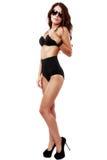 Bella e donna sexy che porta biancheria nera Fotografie Stock Libere da Diritti