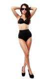 Bella e donna sexy che porta biancheria nera Fotografia Stock Libera da Diritti