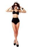 Bella e donna sexy che porta biancheria nera Fotografia Stock