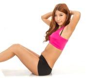 Bella esercitazione asiatica della donna Fotografie Stock