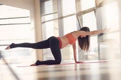 Bella esercitazione di forma fisica di ginnastica della donna incinta Immagini Stock Libere da Diritti