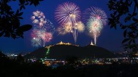 Bella esposizione del fuoco d'artificio per la celebrazione Fotografia Stock Libera da Diritti
