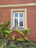 Bella facciata di vecchia casa con mattoni a vista Fotografie Stock