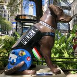 Bella. This is a Fall picture of a piece of public art titled: Bella, on display along Michigan Avenue as part of the 2018 K-9's for Cops, located in royalty free stock photo