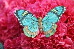 Bella farfalla sui garofani rossi Fotografia Stock Libera da Diritti