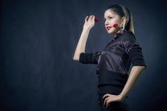 Bella femmina con i cuori Fotografia Stock