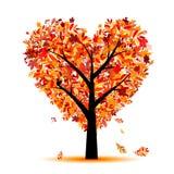 Bella figura del cuore dell'albero di autunno per il vostro disegno Fotografie Stock