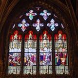 Bella finestra di vetro macchiato dentro Notre Dame de Paris fotografie stock