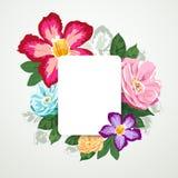 Bella flora con la carta del Libro Bianco isolata illustrazione vettoriale