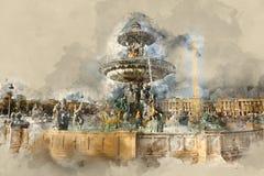 Bella fontana su Concorde Square a Parigi Immagini Stock Libere da Diritti
