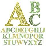 Bella fonte floreale delle lettere Immagini Stock Libere da Diritti