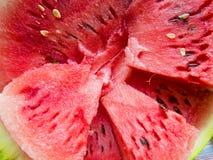 Bella foto con il primo piano affettato fresco dell'anguria Immagini Stock Libere da Diritti
