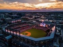 Bella foto del fuco di Denver Colorado al tramonto fotografie stock